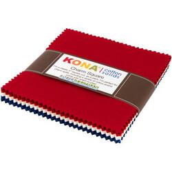 Kona Cotton Solids Charm Squares in Patriotic
