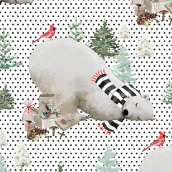 Napping Bear in Onyx Winter Dots on White