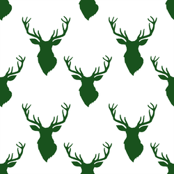 Small Deer Silhouette in Wintergreen on White