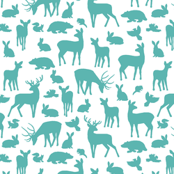 Forest Friends in Seafoam on White