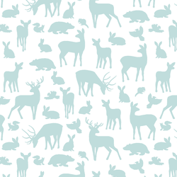Forest Friends in Glacier Blue on White