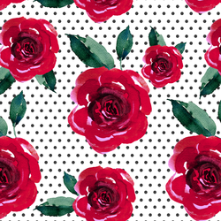 Blooming Roses on Polka Dots in Onyx