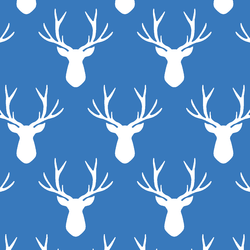 Stag Silhouette in Cerulean