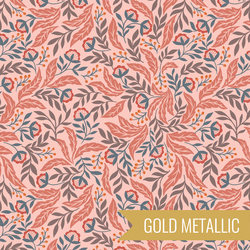 Arts and Crafts Floral in Pink Metallic
