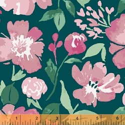 Painted Floral in Teal