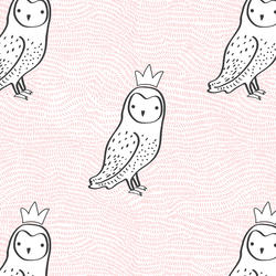 Crowned Owl in Sweet Pink and Onyx