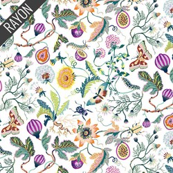 Forage Flowers Rayon in White
