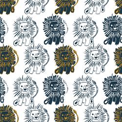 Large Block Print Lions in Deep Navy