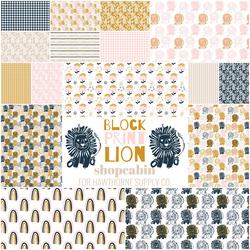 Block Print Lion Fat Quarter Bundle