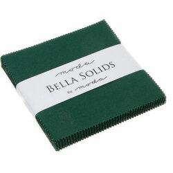 Bella Solids Charm Pack in Christmas Green