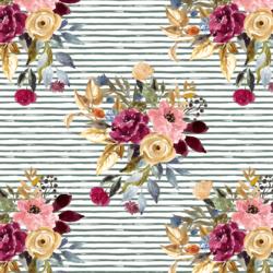 Rose Bouquet on Little Watercolor Stripes in Dusty Jade