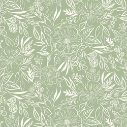 Floral Sketch in Lichen Green