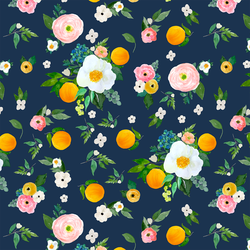 Large Orange Blossoms in Navy
