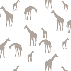 Giraffe Silhouette in Taupe on White
