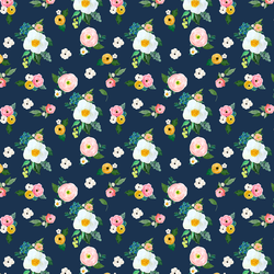 Small Spring Blossoms in Navy