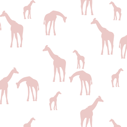 Giraffe Silhouette in Blush on White
