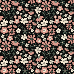 Groovy Autumn Floral in Black