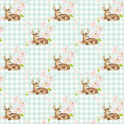 Little Blush Floral Deer in Light Green Gingham
