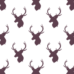 Little Stag Silhouette in Raisin on White