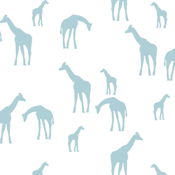 Giraffe Silhouette in Powder Blue on White