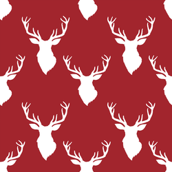 Small Deer Head in Berry Red on White