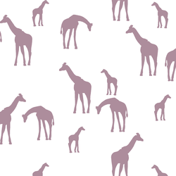 Giraffe Silhouette in Celestial on White