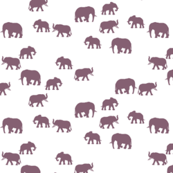 Elephant Silhouette in Mulberry on White