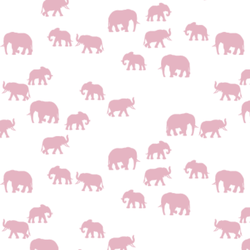 Elephant Silhouette in Carnation on White