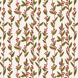 Holly Branches in Cream