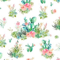 Cactus Floral in White