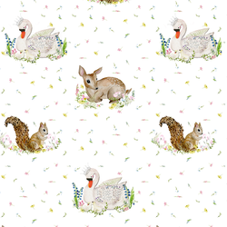 Woodland Animals in White