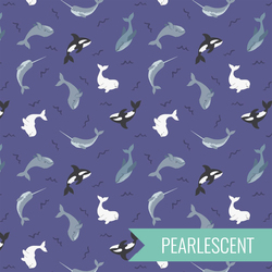 Whales in Indigo Blue Pearl