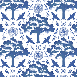 Meadowlark Damask in Blue Jay