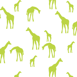 Giraffe Silhouette in Lime on White