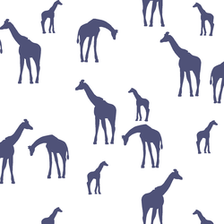 Giraffe Silhouette in Indigo on White