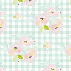 Blush Roses in Light Green Gingham