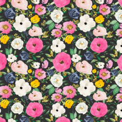Small Free Falling Florals in Light Black