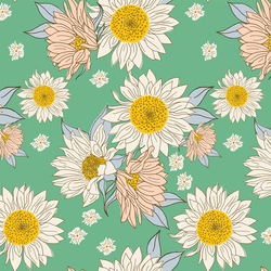 Sunflowers in Teal