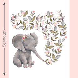 Floral Elephant Quilt Panel in White