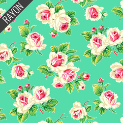 Rose Bunch Rayon in Bright Green