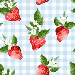 Large Strawberries in Summer Sky Gingham