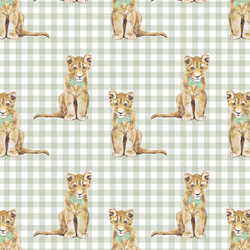 Little Boy Cub on Gingham Check in Succulent Green