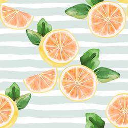 Large Citrus Slices in Iced Aqua Stripe