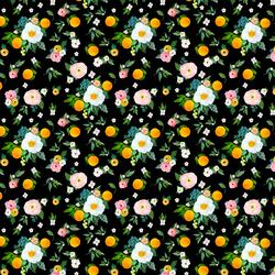 Small Orange Blossoms in Black