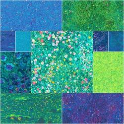 Painterly Petals Fat Quarter Bundle in Green