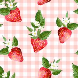 Large Strawberries in Petal Pink Gingham