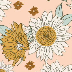 Large Boho Sunflowers in Vintage Blush