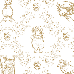 Large Bunny and Friends in Golden on White
