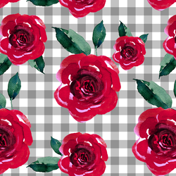 Blooming Roses on Gingham in Grey