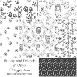 Bunny and Friends Fat Quarter Bundle in Onyx